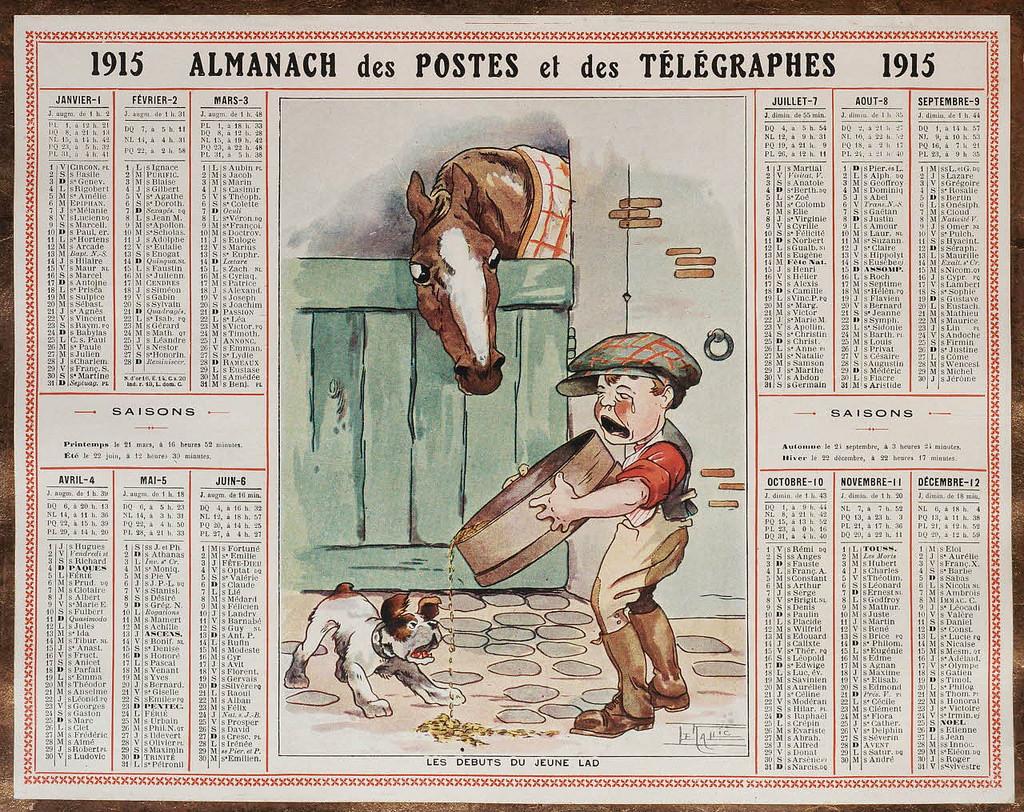 Almanach des Postes et des Télégraphes, registre 1914-1915 - Les débuts du jeune lad